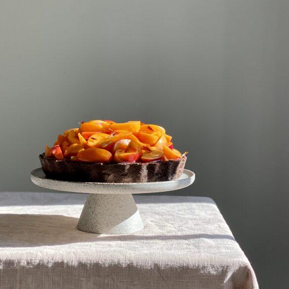 chokoladen Tarte mit Aprikosen